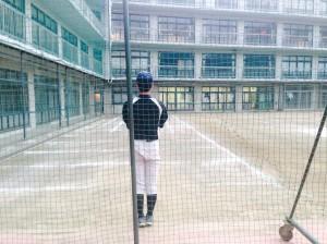 学校練習ピッチング